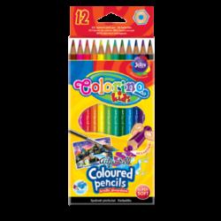 pastelky Colorino akvarelové 12ks + štětec-Kvalitní šestihranné pastelky Aquarell s vysokým podílem barevných pigmentů.