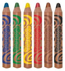 pastelky Colorino kulaté Jumbo Baby Line 6ks + ořezávátko-Extra velké pastelky - délka 12 cm, O 2 cm. Speciální měkká tuha umožňuje snadné a bezpečné kreslení i nejmenším dětem.