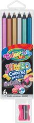 pastelky Colorino kulaté Metal Jumbo 6ks + ořezávátko-Sada kvalitních kulatých pastelek v JUMBO velikosti a metalických barvách, které vyniknou na tmavém podkladu.