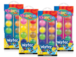 barvy vodové Colorino 22mm 12ks-Kvalitní vodové barvy s vysokým podílem pigmentu.