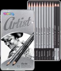 tužky grafitové umělecké Colorino Artist 12ks kovová krabička-vysoce kvalitní grafitové tužky různé tvrdosti pro malbu skic, projektů, architektonických výkresů...