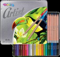 pastelky Colorino Artist 24ks kovová krabička-Premiová kvalita pastelek pro umělecké i amaterské kreslení.