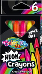 voskovky Colorino trojhranné 6ks neon