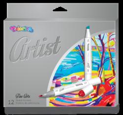 popisovače Colorino Artist oboustranné 12ks-Vysoce kvalitní skicovací popisovače se dvěma hroty