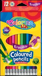 pastelky Colorino gumovací 12ks-Kvalitní šestihranné bezdřevé pastelky, které lze vymazat pomocí pryže na konci, s vysokým podílem barevných pigmentů.
