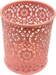 stojánek drátěný na tužky kulatý Europen růžový-rozměr: 8,4 x 10 cm