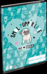 sešit A5 32l linka We Love Dogs Blue 21869201-PRODEJ POUZE PO BALENÍ