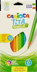 pastelky Carioca trojhranné pružné 12ks-školní trojhranné pastelky