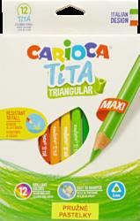 pastelky Carioca Tita trojhranné pružné 12ks Jumbo-školní trojhranné Jumbo pastelky