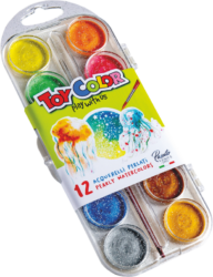barvy vodové 30mm Toy Color perleťové 12ks-barvy vodové perleťové 12 x 30 mm