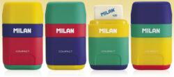 ořezávátko  Milan COMPACT MIX na 2 tužky s gumou-Ořezávátko s gumou rozměry: 6,7 x 4 x 2,5 cm