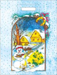 taška  vánoční 46 x 35 zimní příroda-PRODEJ POUZE PO BALENÍ