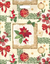 taška  vánoční 46 x 35 růže s mašlí, ozdoby-PRODEJ POUZE PO BALENÍ