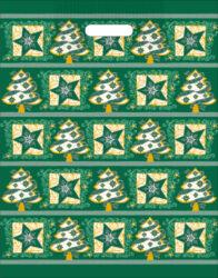 taška  vánoční 46 x 35  zelená fantazie-PRODEJ POUZE PO BALENÍ