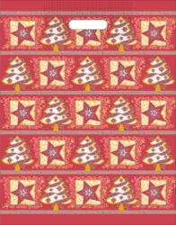 taška  vánoční 46 x 35  červená fantazie-PRODEJ POUZE PO BALENÍ