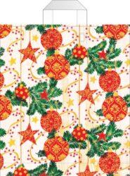 taška  vánoční s uchy 46 x 39 červenozlaté hvězdy a ozdoby-PRODEJ POUZE PO BALENÍ