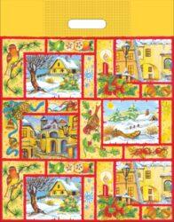 taška  vánoční 46 x 35 zimní vesnička-PRODEJ POUZE PO BALENÍ