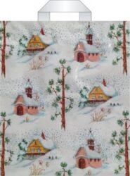 taška  vánoční s uchy 46 x 39 zimní kaplička-PRODEJ POUZE PO BALENÍ