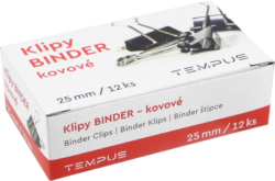 klip Binder černý  Tempus 25mm(8594033822538)