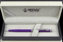 kuličkové pero Lane - fialová-psací souprava Regal