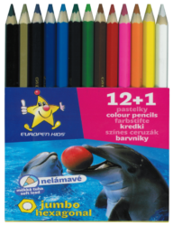 pastelky   Europen 1613 jumbo 12+1 - tuha 5,8 mm