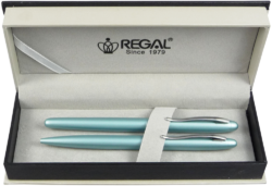 kuličkové pero + roller Alice - tyrkysvá světlá-psací souprava Regal