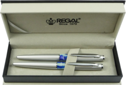 kuličkové pero + roller Mercurius - stříbrná-psací souprava Regal