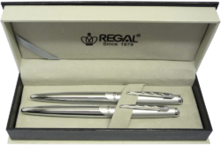 kuličkové pero + roller Themis - stříbrná-psací souprava Regal
