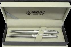 kuličkové pero + inkoustové pero Themis - stříbrná-psací souprava Regal