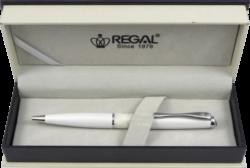 kuličkové pero William - bílá-psací souprava Regal