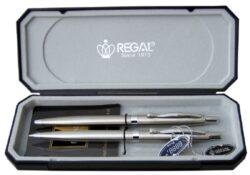 kuličkové pero + mikrotužka Reef - stříbrné-psací souprava Regal
