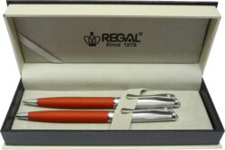 kuličkové pero + mikrotužka Cronos - matná červená-psací souprava Regal