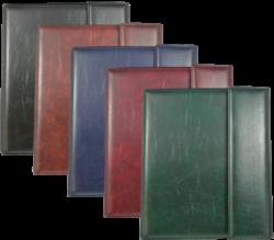 konferenční složka LUX A4 s klipem + 2xčtyřkroužek zelená-kožené konferenční desky