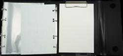 konferenční složka LUX A5 s klipem + 2xčtyřkroužek hnědá(8594033831332)