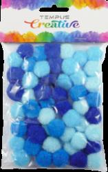 pom poms 20mm mix modrých 50ks