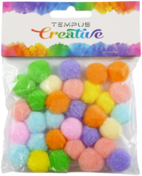 pom poms 20mm bar.pastel mix 30ks