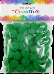 pom poms 20mm zelený 50ks