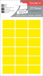 etikety v sáčku neon 22 x 32 žluté 90ks OCF-116-aršíky A6