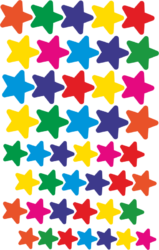 a samol.STC-129 hvězdy bar.mix různé vel. 132ks-3 aršíky