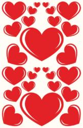 a samol.STC-132 srdce červená různé vel. 66ks-3 aršíky