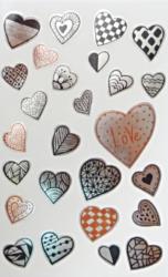 a samol.STC-134 srdce stříbrná různé vel. 78ks-3 aršíky