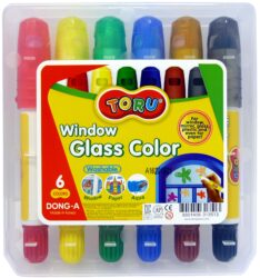 barvy tuhé TORU na sklo  6ks-Tuhé temperové barvy TORU na sklo, plast atd...