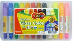 barvy tuhé TORU na sklo 12ks-Tuhé temperové barvy TORU na sklo, plast atd...