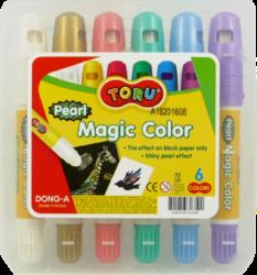 barvy tuhé TORU Magic  6ks na černý papír-tuhé temperové barvy TORU MAGIC COLOR na černý papír s perleťovým efektem