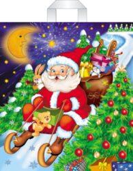 taška  vánoční PE 45 x 50 Santa na saních-PRODEJ POUZE PO BALENÍ